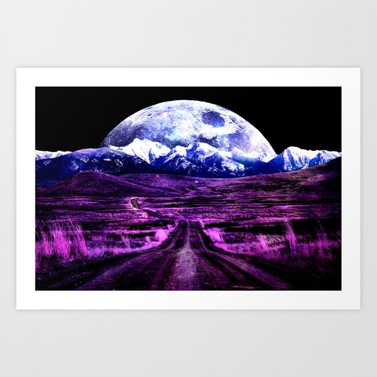 Highway to Eternity (moon mountain) Fuchsia Art Print