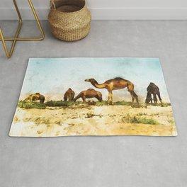 Camels in the Desert Rug