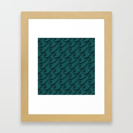 Sea Waves at Night Pattern - Dark Turquoise Framed Art Print
