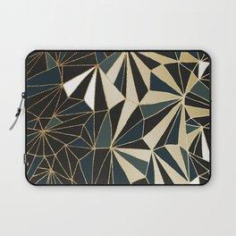 New Art Deco Geometric Pattern - Emerald green and Gold Laptop Sleeve