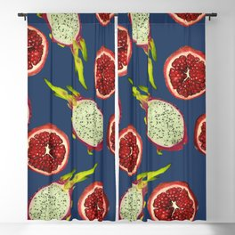 Pomegranate - Dragon Fruit Pattern blue Blackout Curtain