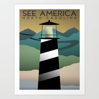 north carolina Art Prints featuring North Carolina by Design for Obama