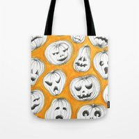 pumpkin Tote Bags featuring Pumpkin by Saoirse Mc Dermott
