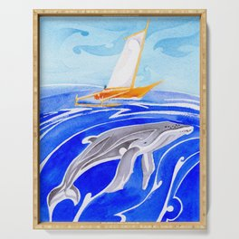 humpback whale and polynesian outrigger sail boat Serving Tray