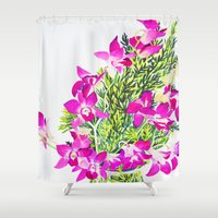 singapore Shower Curtains featuring Singapore Orchids by marlene holdsworth