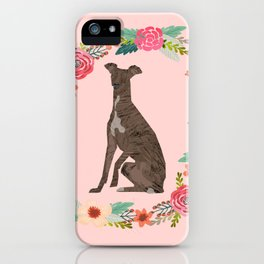 italian greyhound floral wreath dog breed pet portrait pure breed dog lovers iPhone Case
