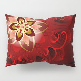 Abstract red flower Pillow Sham