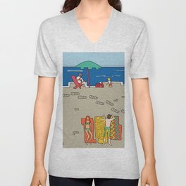 Afternoon at the beach (a) Unisex V-Neck