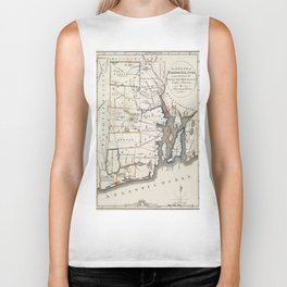 Map of Rhode Island 1818 Biker Tank