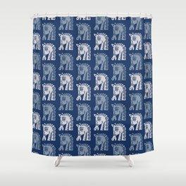 Mid Century Horse Pattern Blues Shower Curtain