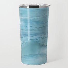 Ice Blue Marble Travel Mug