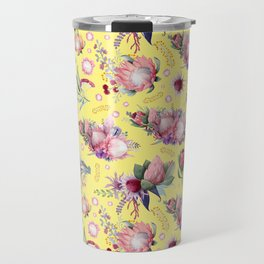 Australian Native Floral Pattern - Protea Flowers Travel Mug