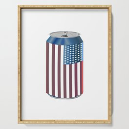 Beer Can American Flag- Proud American Patriot Cool Celebration Cool Gift Serving Tray