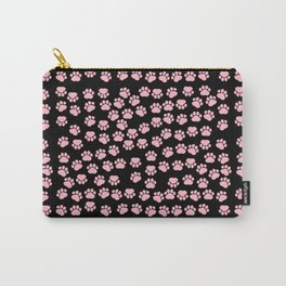 Dog Paws, Traces, Paw-prints - Pink Black Carry-All Pouch