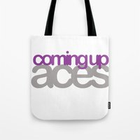 asexual Tote Bags featuring coming up aces by Brizy Eckert