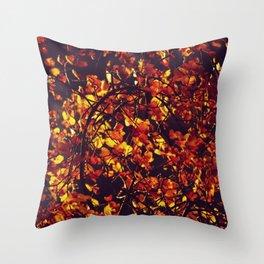 Burning autumn - Light getting through leaves - Fine Art Photography Throw Pillow