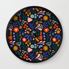 Abstract Botanical Dark Wall Clock