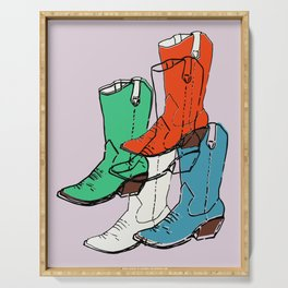 Cowgirl Boot Mood - these boots are made for walking Serving Tray