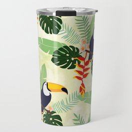 Toucan and Big Leave Pattern Travel Mug
