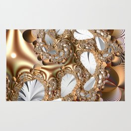 Silver leaves on golden glow -- A fractal landscape Rug