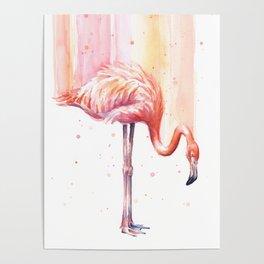 Pink Flamingo Watercolor Bird Animals Whimsical Animal Poster