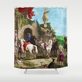 Prelude to a Hunt Landscape English Painting by Jeanpaul Ferro Shower Curtain