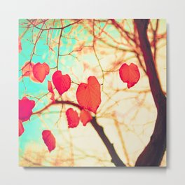 Hearts Over Gold Metal Print