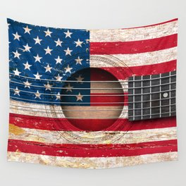 Old Vintage Acoustic Guitar with American Flag Wall Tapestry