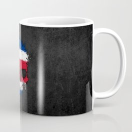 Flag of Costa Rica on a Chaotic Splatter Skull Coffee Mug