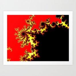 Black Gold Red Mandelbrot Fractal Art Print