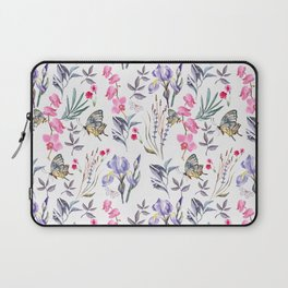 Pink lavender watercolor hand painted orchid floral butterfly Laptop Sleeve