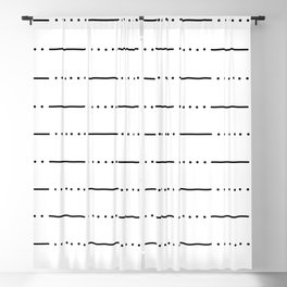 Simple modern black white hand painted stripes dots pattern Blackout Curtain