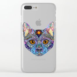 Mystic Psychedelic Cat Clear iPhone Case
