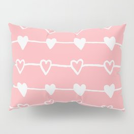 Handrawn Hearts - Pink Pillow Sham