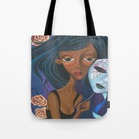 charmaine Tote Bags featuring Unmasked by Charmaine D'Silva