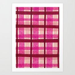 Tissue Paper Plaid - Pink Art Print