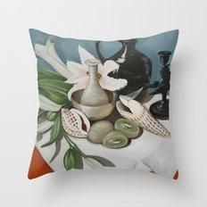 Kiwi fruit & Lillies Throw Pillow