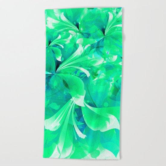 Stylized flowers in green Beach Towel
