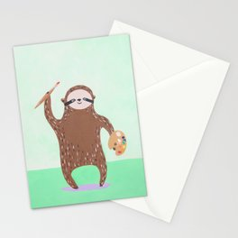 Artist Sloth Stationery Cards