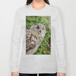 Eagle Owl with glowing eyes Long Sleeve T-shirt
