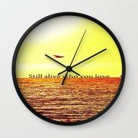 bon iver Wall Clocks featuring PERTH- BON IVER by Michelle Pitiris