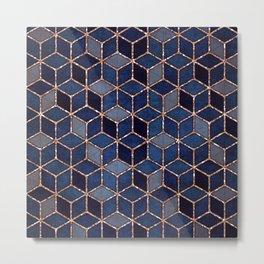 Shades Of Purple & Blue Cubes Pattern Metal Print