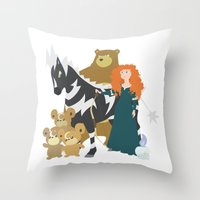 merida Throw Pillows featuring Team Merida by Citron Vert