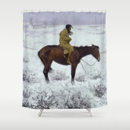 "Frederic Remington Western Art ""The Herd Boy"" Shower Curtain"