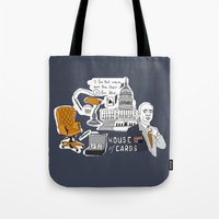 house of cards Tote Bags featuring House of cards by zldrawings