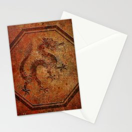 Distressed Chinese Dragon In Octagon Frame Stationery Cards