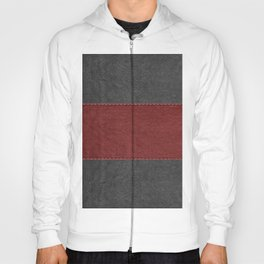 Black & Red Leather Texture Print Hoody