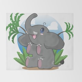 The Littlest of Elephants Throw Blanket