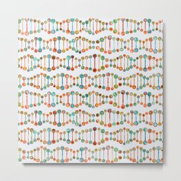 Watercolor DNA Strands Metal Print