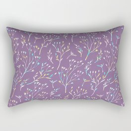 Hand painted violet pink teal watercolor floral Rectangular Pillow
